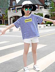 Casual/Dagelijks-Gestreept-Rayon-Zomer-Girl's-T-shirt-Zwart / Blauw