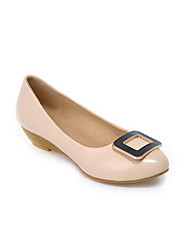 Women's Pull On Pu Round Closed Toe Low Heels Solid Pumps-Shoes