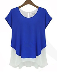 Women's Casual/Daily Simple Summer Blouse,Patchwork Round Neck Short Sleeve Blue / Gray / Green