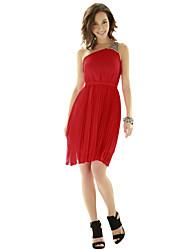 JoanneKitten Women's Sexy / Vintage / Party / Cocktail / Work Solid A Line / Chiffon Dress , One Shoulder Above Knee