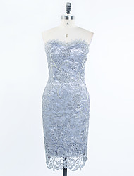 Cocktail Party Dress Sheath / Column Sweetheart Knee-length Lace / Satin with Appliques / Beading / Lace