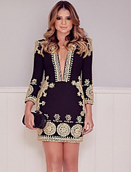 Women's Going out Vintage Bodycon Dress,Print Deep V Above Knee Long Sleeve Black Polyester Fall