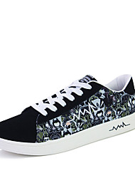 Femme-Décontracté-Noir / Bleu-Talon Plat-Confort-Sneakers-Tissu
