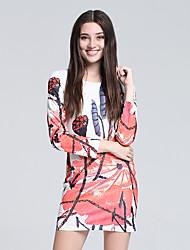 Women's Club Chinoiserie Sheath Dress,Print Round Neck Mini Long Sleeve Orange Silk Fall High Rise Micro-elastic Thin