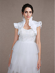 Wedding  Wraps Shrugs Sleeveless Taffeta Ivory Wedding Party/Evening Ruffles Open Front
