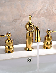 Contemporary  / Modern Widespread Widespread with  Ceramic Valve Two Handles Three Holes for  Ti-PVD  Bathtub Faucet /