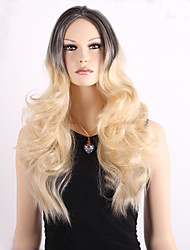Fashionable Sweet Gloden Medium Long Length Ombre Black Blonde Curly Synthetic Hair Wig