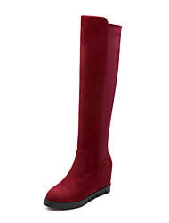 Women's Boots Spring / Fall / Winter Riding Boots / Fashion Boots / Round Toe Suede / Casual Flat Heel Split JointBlack