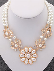 European Style Fashion Simulated Pear Statement Necklace Crystal Leaf Pearl Flower Collar Necklace For Women Jewelry