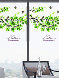 Window Film Window Decals Style Fresh Green Leaves Matte PVC Window Film - (60 x 58)cm