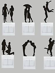 Romance Stickers muraux Stickers avion Stickers muraux décoratifs / Stickers d'interrupteurs,PVC Matériel Amovible Décoration d'intérieur