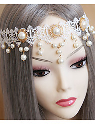 Women's Lace / Imitation Pearl Headpiece-Wedding Headbands 1 Piece Champagne