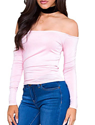 Women's Going out Sexy All Seasons T-shirt,Solid Boat Neck Long Sleeve Pink Cotton / Rayon Thin