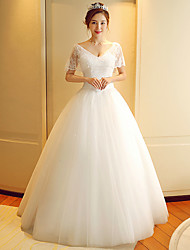 A-line Wedding Dress Floor-length V-neck Lace / Tulle with Beading / Lace / Sequin