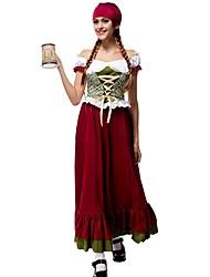 Fantasias de Cosplay Ternos de Empregadas Cosplay de Filmes Verde Cor Única Vestido / Luvas / Máscara Dia Das Bruxas / Natal / Ano Novo