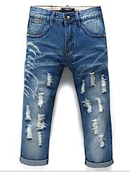 Men's Solid Casual Jeans,Cotton Blue