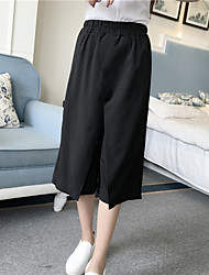 Women's Solid Black Wide Leg Pants,Simple