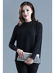 Women's Going out Simple Regular Pullover,Solid Multi-color Crew Neck Long Sleeve Acrylic Fall Medium