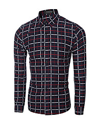Men's Plaids Casual / Formal Shirt,Cotton Long Sleeve Red / Yellow