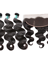 Brazilian Virgin Hair Body Wave 3 Bundles Unprocessed Human Hair Weave with 1 Pcs 13×4 Ear To Ear Lace Frontal Closure