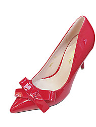 Damen High Heels Lackleder Sommer Hochzeit Normal Schleife Stöckelabsatz Schwarz Grau Fuchsia Rosa 7,5 - 9,5 cm