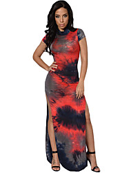Women's Tie Dye Vintage Short Sleeve Cheongsam Dress
