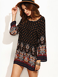 Women's Boho Casual/Daily / Holiday Boho / Cute Loose Dress,Paisley Round Neck Mini Long Sleeve White / Black Polyester Fall