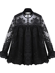 Women's Going out Street chic Fall Blouse,Patchwork Round Neck Long Sleeve White / Black Polyester Sheer