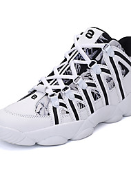 Men's Athletic Shoes Comfort Fall Winter Synthetic Microfiber PU Basketball Shoes Athletic Casual Outdoor Lace-up Flat Heel Black/White