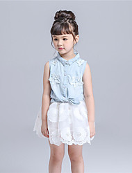 KIMOCAT  Girl's Casual/Daily Solid Clothing Set,Cotton / Polyester Summer White