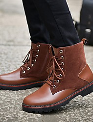 Men's Boots Spring Fall Combat Boots Leatherette PU Outdoor Casual Low Heel Lace-up Black Brown