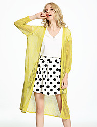 ADEAST  Women's Going out /Beach Vintage / Simple / Street chic Summer / Fall Jackets,Solid V Neck ¾ Sleeve