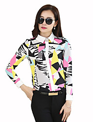 Women's Going out Vintage All Seasons Shirt,Patchwork Shirt Collar Long Sleeve Multi-color Polyester Medium