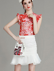 MIUCO Casual/Daily Simple Summer Set,Floral Crew Neck Short Sleeve Red Polyester Thin