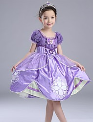 Ball Gown Knee-length Flower Girl Dress - Cotton / Satin / Tulle Short Sleeve Scoop with Pearl Detailing / Ruffles