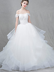 Princess Wedding Dress Court Train Off-the-shoulder Tulle with Criss-Cross / Lace / Ruffle