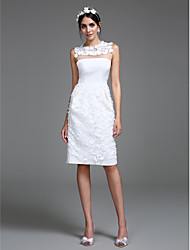 LAN TING BRIDE Sheath / Column Wedding Dress Little White Dress Knee-length Jewel Chiffon with Flower
