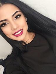 brasileiros naturais rendas frente perucas Liso Preto u-parte rendas frente perucas de cabelo humano