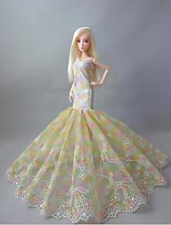 Festa e Noite Vestidos Para Barbie Doll Bege Rendas Vestidos