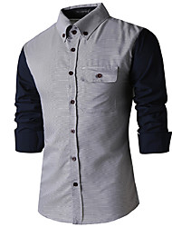 Men's Patchwork Work / Formal Shirt,Cotton / Polyester Long Sleeve Gray