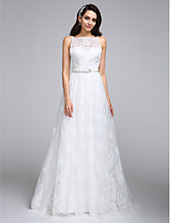LAN TING BRIDE A-line Wedding Dress Floral Lace Floor-length Bateau Lace with Lace Sash / Ribbon