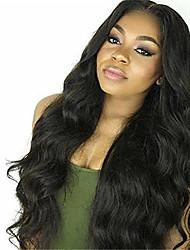 16-28 Zoll unverarbeitetes Menschenhaar volle Spitzeperücke # 1b Farbe Körperwelle 130% Dichte mit dem Babyhaar für schwarze Frauen