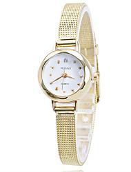mulheres / banda fina liga de ouro / prata caixa branca de quartzo analógico vestido da forma da senhora relógio ocasional