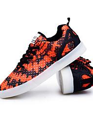 Sneakers-Casual-Comoda Light Up Shoes-Piatto-Tulle-Nero Arancione