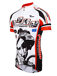 TASDAN Cycling Jersey Men's Short Sleeve Bike Breathable Quick Dry Sweat-wicking Jersey + Shorts Jersey Sleeves Tops 100% Polyester Sports