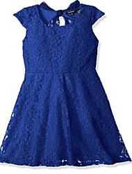Sheath / Column Knee-length Flower Girl Dress - Lace Short Sleeve Jewel with Lace