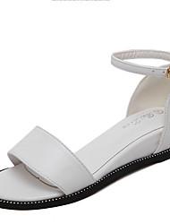 Damen-Sandalen-Lässig-PU-Keilabsatz-Sandalen / Vorne offener Schuh-Schwarz / Weiß / Silber
