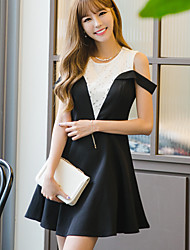 Women's Casual/Daily Simple Loose Dress,Patchwork Round Neck Above Knee Sleeveless Black Linen Summer