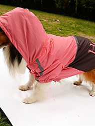 Cat Dog Rain Coat Orange Yellow Green Pink Dog Clothes Summer Spring/Fall Letter & Number Waterproof