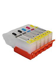 compatible avec canon 850 cartouches d'imprimantes remplies d'un groupe de cinq couleurs noir, rouge, jaune, bleu, gris